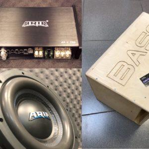 """Усилитель ARIA AF-1.750, 1 шт Сабвуфер ARIA BB-10D2, RMS 300Ватт, 1 шт Короб Азбука Звука Короб 10"""" Щелевой Крашеный, 1 шт"""