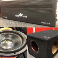 """Сабвуфер DL Audio Raven 12, RMS 800 Ватт, 1 шт Усилитель KINGZ AUDIO TSR-1500.1, 1 шт Короб под сабвуфер 12"""" в карпете на трубе 160 мм, 1 шт"""